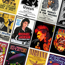 VINTAGE CLASSIC CONCERT POSTERS PRINTS - A4 A3 A2 - Bowie, Zappa, Beatles, Queen