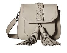 Rebecca Minkoff Isobel Front Pocket Saddle  Putty With Tassel & Woven Detail