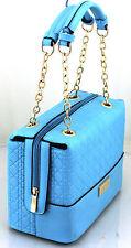 Womens Ladies Faux Leather Quilted Handbag Gold Chain Shoulder Bag Handbag Blue