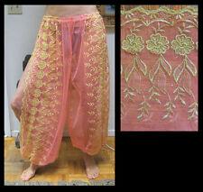 Harem Pants Belly Dance Salmon Pink w/ Gold Brocade Slit 1