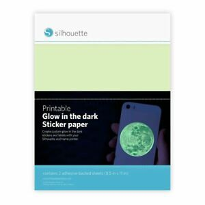 "Silhouette Printable Sticker Paper 8.5""X11"" 2/Pkg-Glow-In-The Dark -MEDGITD"