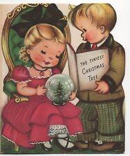 50's Norcross Tiniest Christmas Tree Boy Girl Book VTG Greeting Card Snowglobe