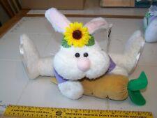 Lot of 2 Plush Easter Bunny Rabbit wicker basket inside