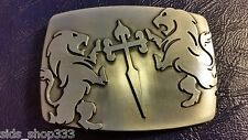 ✖Stunning! Knights Medievel Style LIONS Cross Belt Buckle ✖ Metal Silver color