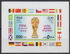 Iraq Irak 1990 ** bl. I unverausgabt unissued m/s Football fútbol banderas Flags