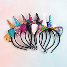 Kids Party Head Bands Cute Unicorn Hairband Cartoon Headband Reversible sequins