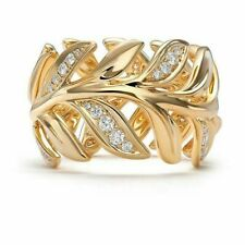 Fashion Wedding Men's Jewelry Rings Sz6 14K Gold Filled White Sapphire Leaf Ring