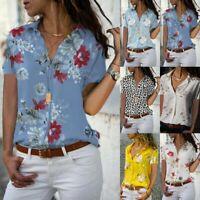 Women Short Sleeves Shirts Floral V Neck Loose Slim Fit Blouse Tops for Summer