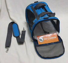 Small dog/cat carrier (up to 16 lbs.)~Black/Blue~Soft sided w/Shoulder strap NEW