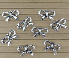 8 CONNECTEURS NOEUD PAPILLON en métal argenté vieilli  perles,fimo-co027