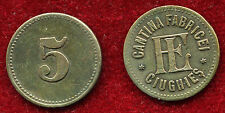 "Romania 1930s 5 lei ""FL"" CIUGHIES Canteen factory,rare brass counter / token"