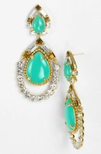 HUGE Kate Spade AMALFI MOSAIC TEARDROP Gems Gold Filled Chandelier Earrings teal