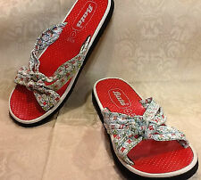 WOMENS SZ 6 RED DOTTED SANDALS WITH FLORAL FABRIC TOPS BY BATA