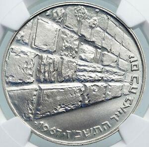 1967 ISRAEL IDF 6 Day War Wailing Wall Jerusalem PF Silver 10 L NGC Coin i87930