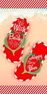"30"" x 60"" Christmas/New Year Flip Flop Candy Sripes Microfiber Beach Towel"