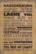 Blechschild -  HAUSORDNUNG  -  LANDHAUS STIL SHABBY  VINTAGE 20x30 cm 23075