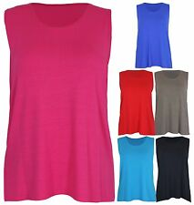 Womens New Sleeveless Ladies Scoop Neck Stretch Vest T-Shirt Tank Top Plus Size
