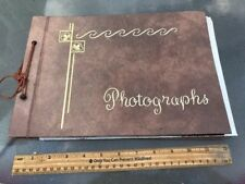 ANTIQUE PHOTO ALBUM WITH 57 ORIGINAL BLACK AND WHITE PHOTOS FAMILY ALBUM