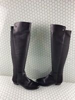 Vince Camuto Karita Black Leather/Fabric Pull On Over The Knee Boots Womens 6.5M