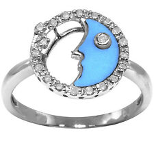 Natural Turquoise 20 Diamond 9ct 9K 375 Solid White Gold Ring - Bravo Jewellery