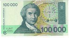 BANCONOTA CROAZIA 100000 STO TISUCA HRVATSKIH DINARA REPUBLIKA HRVATSKA UNC  (7)