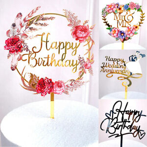 Cake Topper Birthday Party Cake Decoration Insert Acrylic Cake Decor gold 1pcs