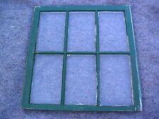 One Top Old Vintage TT-6-G-W white & green 6 pane WAVY good glass window house