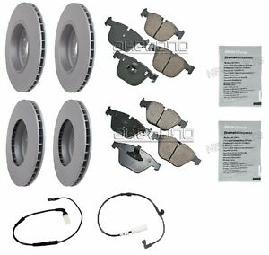For BMW E60 535i 04-10 Front & Rear Disc Brake Rotors Squeal Paste Sensors OEM