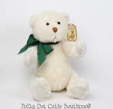 NWT Gund Dempsey Cream Jointed Teddy Bear Green Bow Stuffed Plush Toy 88725