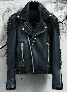 Men's Full Punk Black Metal Spiked Studded Cowhide Biker Leather Jacket