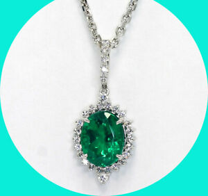 2.60C Emerald doublet CZ halo pendant necklace 18KWG oval rd brilliant 14K chain