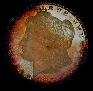 1886  MORGAN DOLLAR ICG MS67 Superb Crescent Toning!