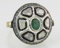 1.50ct Genuine Emerald & Rose Cut Diamond 18k Gold Silver Victorian Dinner Ring
