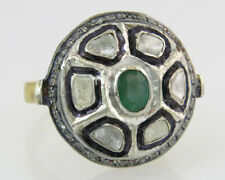 Estate Genuine Emerald & Rose Cut Diamond 18k Silver Victorian Dinner Ring