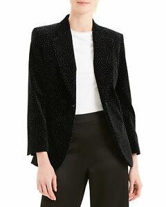 $595 NWT Theory Cinched Button Closure Dot Velvet Black/ White Blazer sz 4