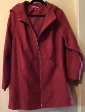 Woman Within Size L hooded Coat Jacket Fully Lined Long Sleeves Zipper Front