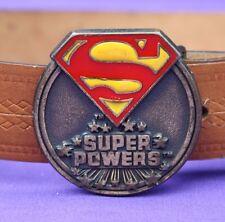 "1984 Lee Superman Super Powers DC Comics Inc Belt Buckle 2"" Original 24-26"" Belt"