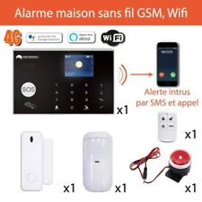 Alarme maison sans fil Wifi, 4G - 433Mh - Connectée - Guide en fr + stickers
