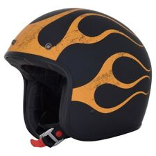 AFX Fx-76 Motorcycle Open Face Vintage Helmet - Matt Black / Orange Size L