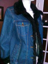 Dennis Basso Jean Jacket w/Black Faux Fur Collar and Cuffs - Medium - NWOT