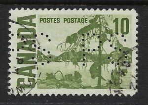 Perfin P19-PS Province Saskatchewan: Scott 462, 10c Centennial, Position 1