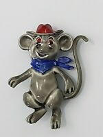Vintage Gray Mouse Cowboy Brooch Pin Enamel Red Rhinestone Eyes Silver Tone
