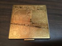 Vintage Rex Fifth Avenue Large Powder Compact Makeup Mirror Gold Brass Square