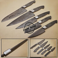 Lot of 5 PCs Professional Damascus Chef Kitchen Knife Hunting Knife Blank Blade