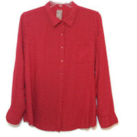White Stag Womens Size XXL (20) Blouse Button Front Long Sleeve Red