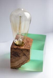 Big green Epoxy resin lamp with rare elm burl