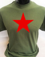 Red Star Soviet Communist Political Retro T-Shirt Mens