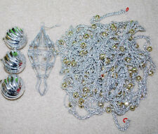 Christmas Tree Decorations LOT Silver Gold Ornaments Tinsel Beaded Garlands VTG