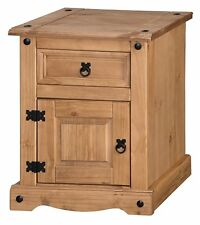 Corona Chunky Pot Bedside 1 Door Drawer Table Cabinet Pine by Mercers Furniture