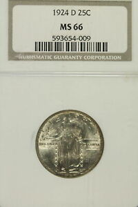 1924-D Standing Liberty Quarter, NGC MS66 , Frosty and Issue Free